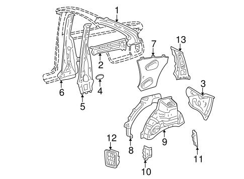 Genuine OEM Inner Structure Parts for 1999 Toyota Solara