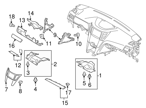 Instrument Panel Components for 2010 Subaru Legacy
