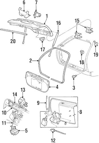 OEM 1998 Mercury Sable Liftgate Parts