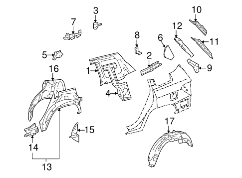 Genuine OEM Inner Structure Parts for 2009 Toyota