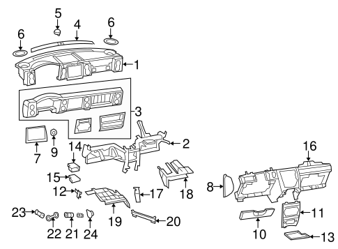 Instrument Panel Components for 2007 Jeep Commander
