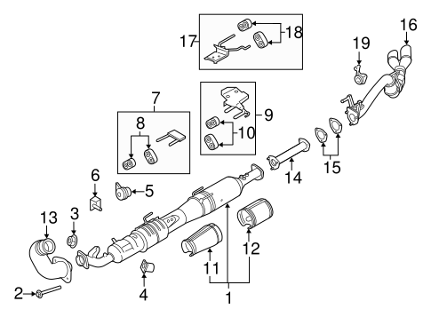 OEM 2017 Ford F-350 Super Duty Exhaust Components Parts