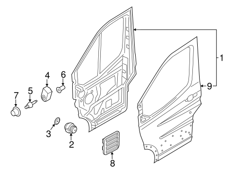 DOOR & COMPONENTS for 2015 Ford Transit-350