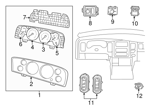 CLUSTER & SWITCHES for 2006 Dodge Ram 2500