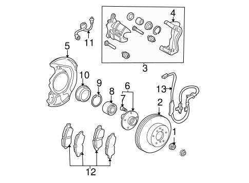 Genuine OEM FRONT BRAKES Parts for 2006 Toyota Sienna XLE