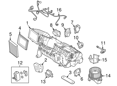 EVAPORATOR & HEATER COMPONENTS for 2012 Ford Mustang