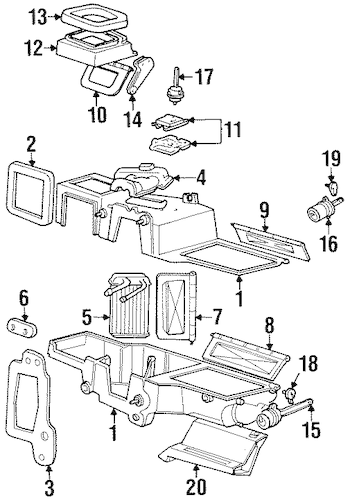 Evaporator & Heater Components for 1997 Mercury