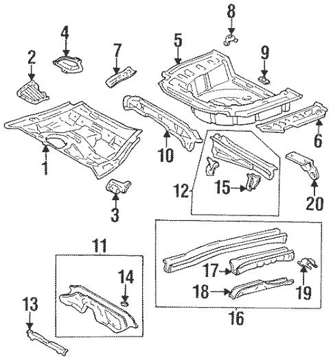 Genuine OEM Rear Floor & Rails Parts for 1996 Toyota
