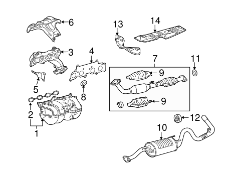 Genuine OEM Exhaust Manifold Parts for 2007 Toyota Tacoma