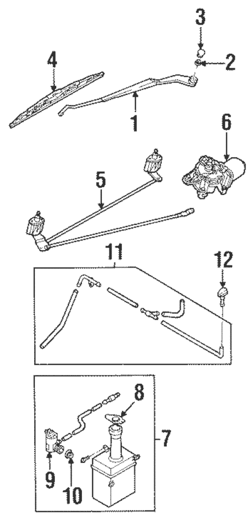 Wiper & Washer Components for 1998 Kia Sephia