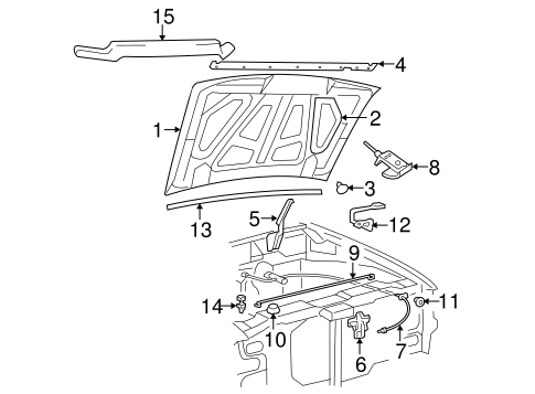 HOOD & COMPONENTS for 2000 Ford Ranger