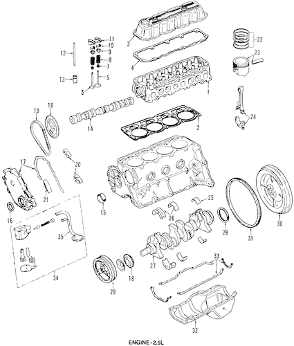 ENGINE PARTS for 1993 Jeep Wrangler