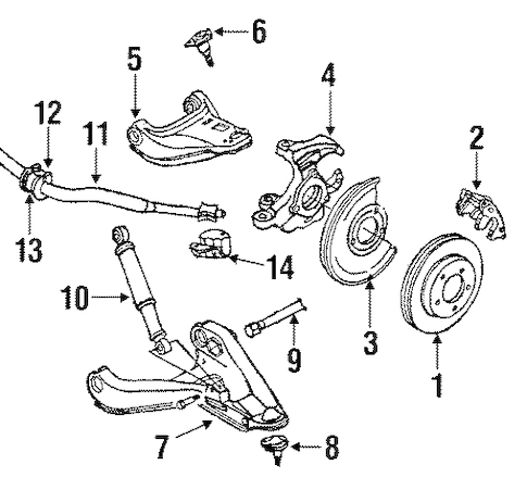 Stabilizer Bar & Components Parts for 1987 Chevrolet S10
