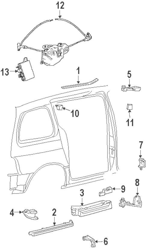 OEM 2000 Ford Windstar Door Hardware Parts