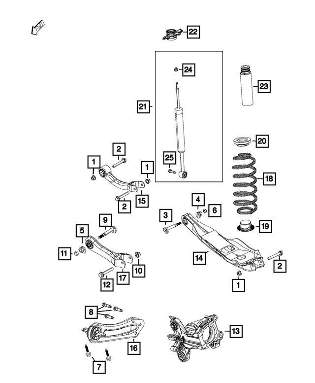 2014-2020 Jeep Cherokee Rear Shock Mount Assembly, Left