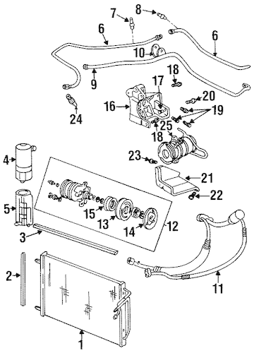OEM 1997 Buick Riviera Condenser, Compressor & Lines Parts
