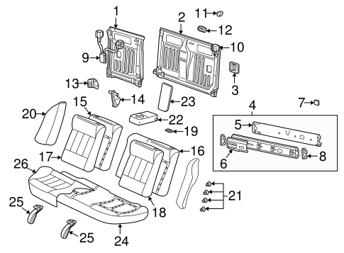 OEM REAR SEAT COMPONENTS for 2002 Saturn L200