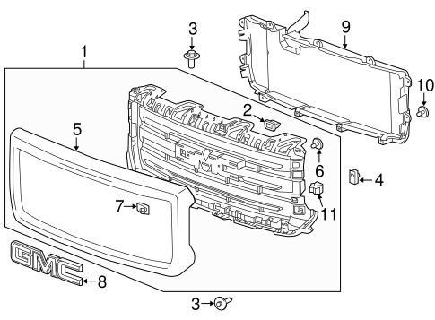 Grille & Components 2015 GMC Sierra 1500 OEM