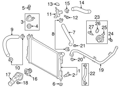 Veloster COOLING SYSTEM/RADIATOR & COMPONENTS Parts