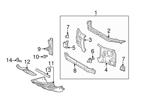 Genuine OEM RADIATOR SUPPORT Parts for 2002 Toyota Tundra