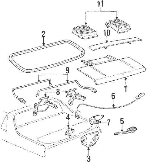 OEM 1987 Pontiac Fiero Compartment Lid Parts