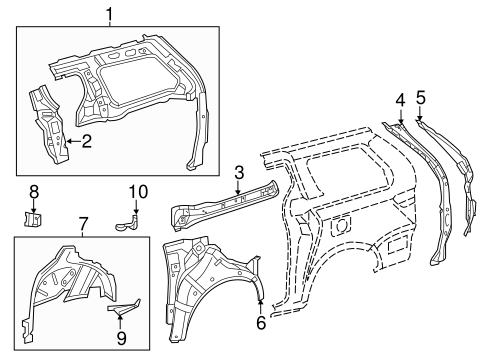 Genuine OEM Inner Structure Parts for 2013 Toyota Sienna