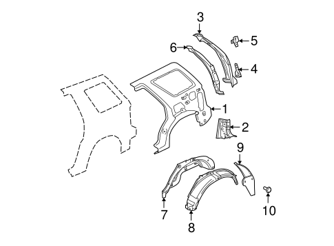INNER STRUCTURE for 2008 Mercury Mountaineer