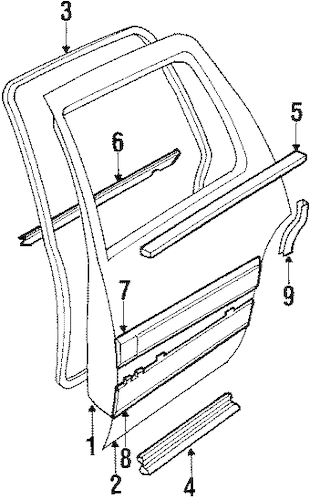 OEM 1989 Buick Electra Door & Components Parts