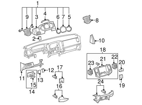 Instrument Panel Components for 2005 Toyota Tacoma