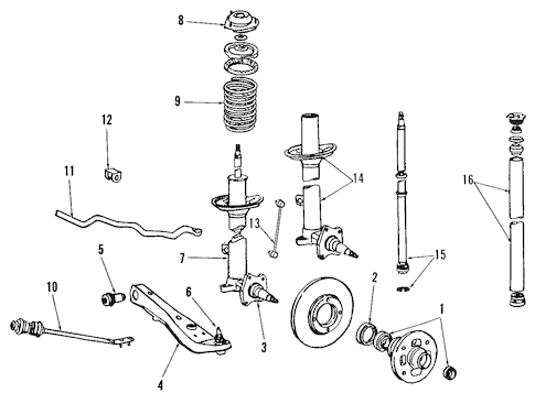 Genuine OEM SUSPENSION COMPONENTS Parts for 1991 Toyota