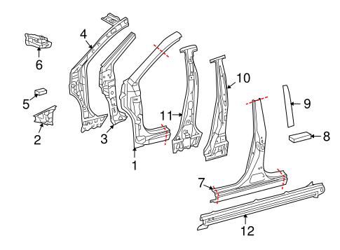 Genuine OEM Center Pillar & Rocker Parts for 2009 Toyota