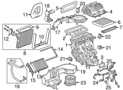 OEM 2014 Cadillac XTS Evaporator & Heater Components Parts