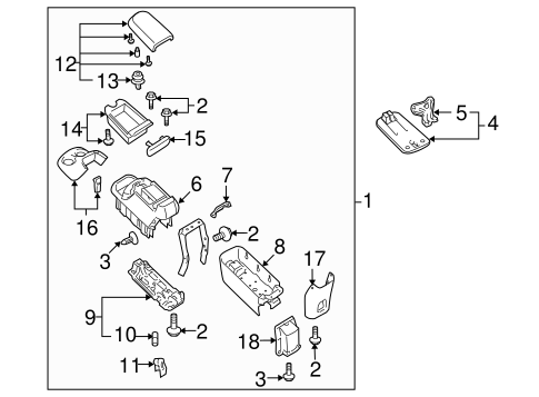 Genuine OEM Rear Console Parts for 2006 Toyota Sequoia