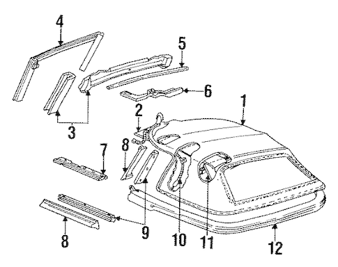 OEM 1992 Pontiac Firebird Top & Components Parts