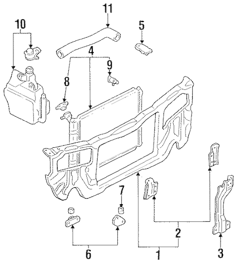 RADIATOR SUPPORT for 1993 Ford Escort