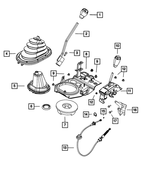 Gearshift Controls and Related Parts for 2011 Jeep