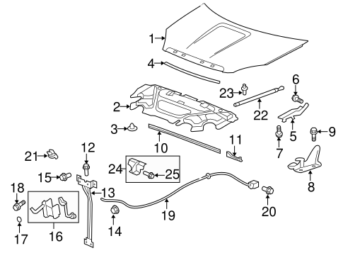 HOOD & COMPONENTS for 2015 GMC Acadia