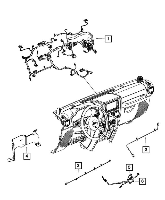 2012 Jeep Wrangler Instrument Panel Wiring 68091169AE