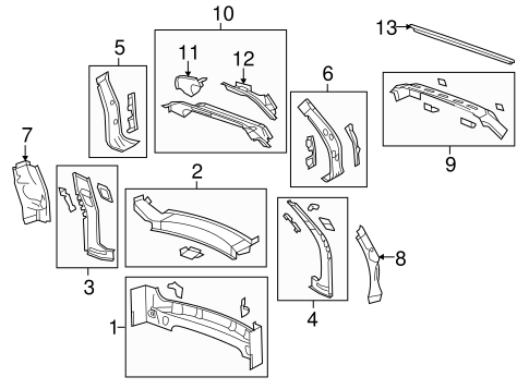 OEM 2014 Chevrolet Traverse Rear Body Parts