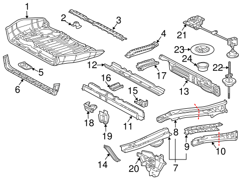 Genuine OEM Rear Floor & Rails Parts for 2004 Toyota