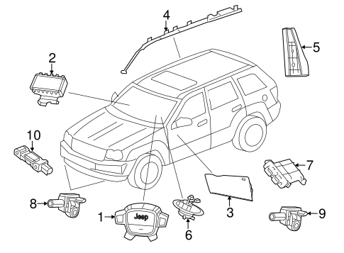 Air Bag Components for 2012 Jeep Grand Cherokee Parts