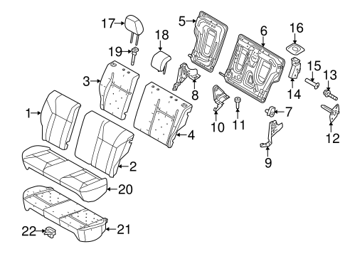 Rear Seat Components for 2011 Ford Fiesta