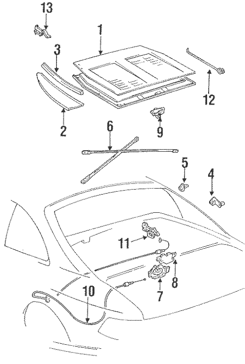 Genuine OEM Rear Compartment Parts for 1991 Toyota MR2