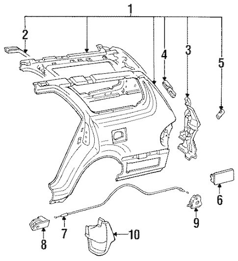 Genuine OEM Fuel Door Parts for 1996 Toyota Camry SE