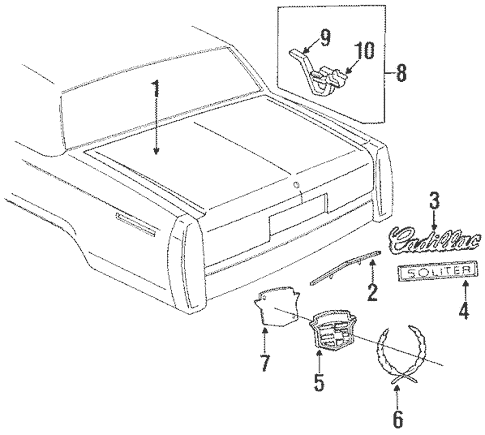 OEM 1991 Cadillac Brougham Lid & Components Parts
