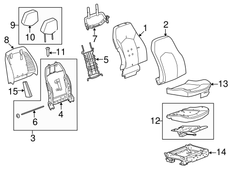 OEM PASSENGER SEAT COMPONENTS for 2009 Cadillac CTS