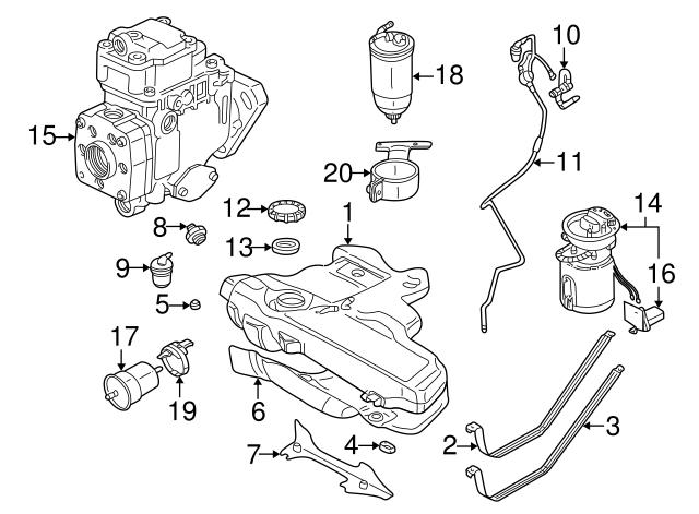 1999-2006 Volkswagen Fuel Filter Bracket 1J0-127-225-B