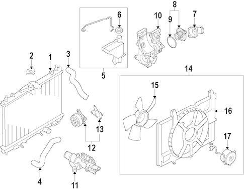 Radiator & Components for 2009 Nissan Cube