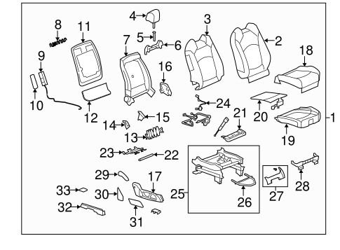 OEM FRONT SEAT COMPONENTS for 2011 Chevrolet Traverse
