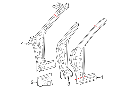 Genuine OEM Hinge Pillar Parts for 2014 Toyota Camry LE